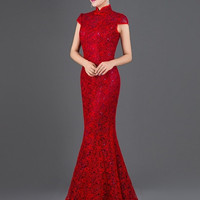 Beaded Mesh Chinese Wedding Mermaid Qipao
