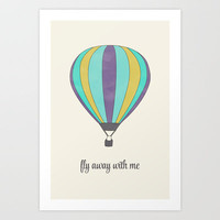 FLY AWAY WITH ME - HOT AIR BALLOON Art Print by Allyson Johnson