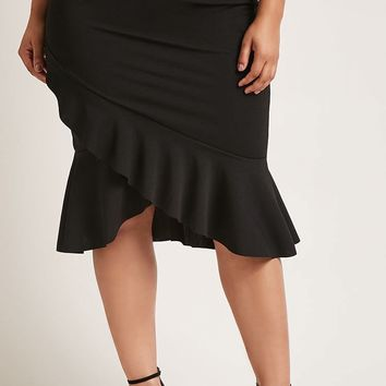 Plus Size Flared Midi Skirt