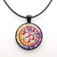 Om Necklace with Chakra colors, new age jewelry, boho
