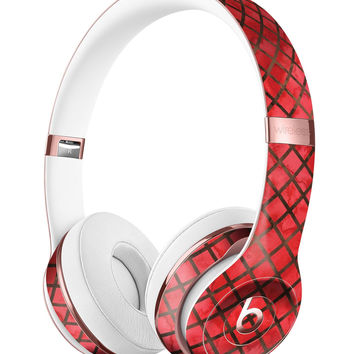 Red Watercolor Diamond Pattern Full-Body Skin Kit for the Beats by Dre Solo 3 Wireless Headphones