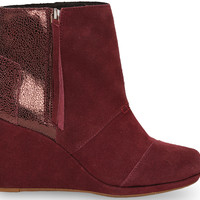 TOMS Wine Crackled Leather Suede Women's Desert Wedge Highs Red