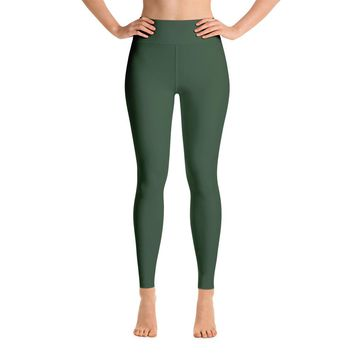 Solid Green Yoga Leggings