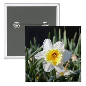 Daffodil Photo Pinback Button