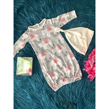 2019 Summer Kickee Pants Natural Feather Indian Elephant  Layette Gown With Knot Hat