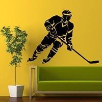 Hockey Wall Decal Boy Personalized Name Decal Hockey Player Vinyl Stickers Sport Art Home Bedroom Decor Interior Design Ice Skating Murals Play Room Decor M797
