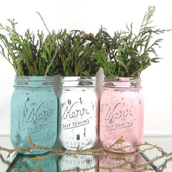 Cottage Chic Decor, Decorated Mason Jars, Rustic Chic Decor, Room Decorations, Distressed Home Decor, Home Decorating, Cute Home Decor