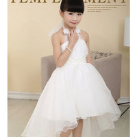 New kids girl wedding party Dress Halter trailing dress beautiful white dress LT-18 = 1932948804