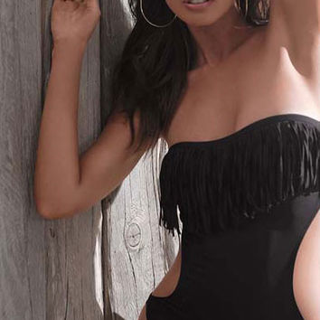 Black Fringe Neckline Monokini with Cut Out Details