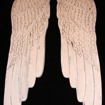 Large Blush Pink Metal and Wood Angel Wings with Matching Crown