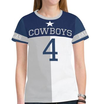Dallas Football #4 State of Texas Flag Women's Mesh Jersey T-Shirt