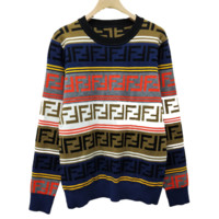 Fendi New fashion more letter print contrast color women long sleeve top sweater
