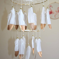 Baby Mobile, Feather Dreamcatcher Mobile, Gold And White Nursery Decor, Baby Boy Girl Nursery Mobile, Large Dreamcatcher