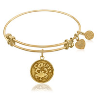 Expandable Bangle in Yellow Tone Brass with Cancer Symbol