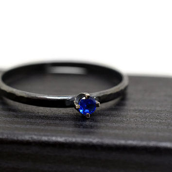 Blue Spinel Ring, Minimalist Ring, Tiny Gemstone Ring, Oxidized Silver Ring,