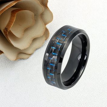Personalized Name Ring Custom Engraving 8MM Tungsten Wedding Band Black & Blue Carbon Inlay Black Ring- ZDPTR770