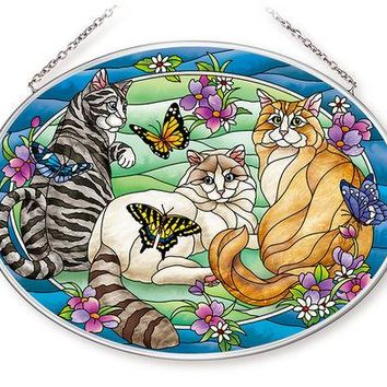 Tiffany Garden Cat Large Oval Sun Catcher