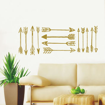 Wall Decal Arrow Vinyl Sticker Decals Art Home Decor Mural Feather Indie Boho Wall Decal Stickers Arrows Fashion Bohemian Bedroom AN718
