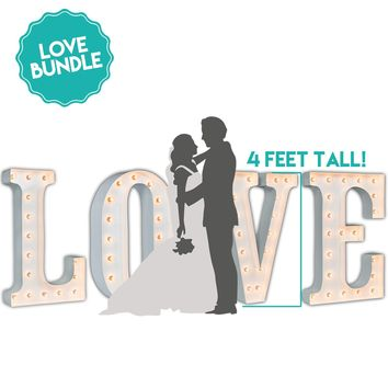 LOVE Marquee - Giant 4 Foot White Gloss Marquee Light Bundle