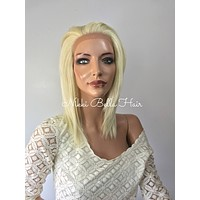 Platinum Blonde Short  Human Hair Blend Multi Parting Lace Front Wig - e1046