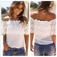 Off Shoulder White Lace Blouse