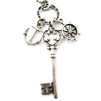 Nautical Themed Anchor Helm and Skeleton Key Charm Necklace in Silver DOTOLY