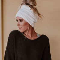 Messy Bun Knitted Beanie Hat - Off White