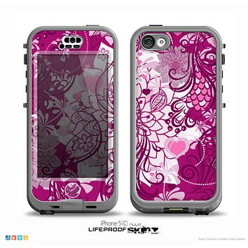 The White and Pink Birds with Floral Pattern on Dark Pink Skin for the iPhone 5c nüüd LifeProof Case