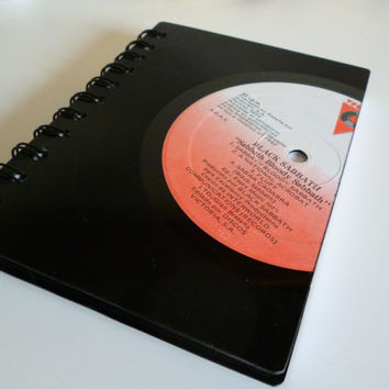 Black Sabbath Record Notebook A6 Recycled Vintage Vinyl LP Writing Pad Journal Unique Gift for music lovers 1970s Rock Ozzy Osbourne
