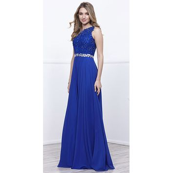 Lace Appliqued Bodice Embellished Waist Long Formal Dress Royal Blue