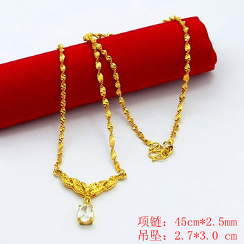 24K GP Gold Plated Necklace Mens Women Yellow Gold Golden Jewelry Necklace YHDN 9 MP