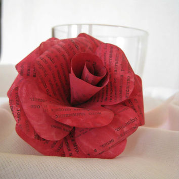 Set of 6 Book Page Paper Flowers,Red Paper Roses,Book Paper Wedding Decoration,Eco Wedding,Table Centerpiece,Vintage Paper Flower,Book Page