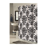 Park Avenue Deluxe Collection EZ-ON?  inch Beacon Hill inch  Polyester Shower Curtain in Black on White