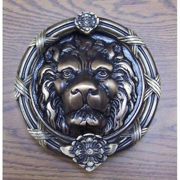 Brass Accents A07-K5100-609 Antique Brass Leo Lion Door Knocker - 8 3/8-Inch
