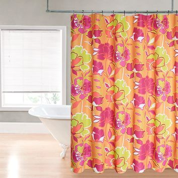 "Royal Bath Retro Neon Floral Fantasy Water Repellant Fabric Shower Curtain -70"" x 72"""