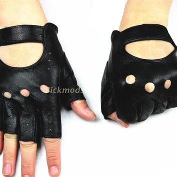 Leather gloves women's half-finger sheepskin gloves fashion hollow style a variety of colors 100% full leather driving gloves