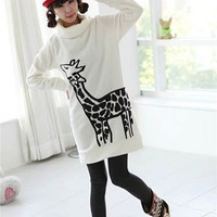 kawaii giraffe pullover with polo neck white Japan cute - Sweaters/Hoodies - Clothes