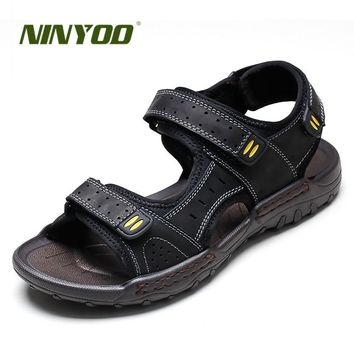 NINYOO 2017 100% Genuine Leather Shoes Men's Sandals Slippers Comfortable Summer Casual Shoes Weaproof Outdoor Beach Sandals 45
