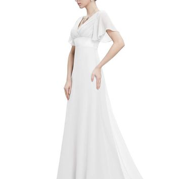 Short Sleeve V-Neckline Long Maxi Evening Bride Maid Dress(4-16)