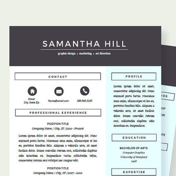 Creative Resume Template | With Cover Letter and References | Resume for Word and Pages | Two Pages | Instant Download | CV | For Mac and PC