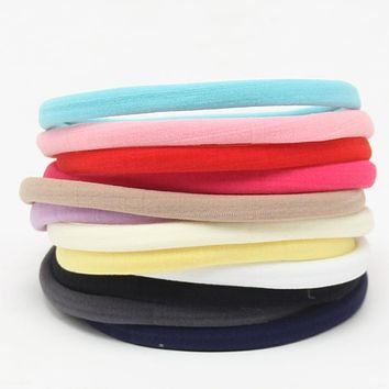 10pcs soft spandex nylon headband for skinny very stretchy Non-Marking headwear nylon elastic head band