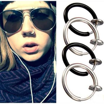 Punk Style Fake Piercing Clip on Hoop Body Lip Nose Rings