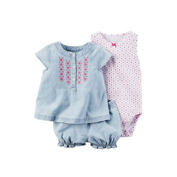Baby Girl's Cute Casual Romper Sets