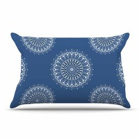 "Julia Grifol ""Blue Harmony"" Blue White Digital Pillow Case"