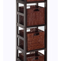 Leo 5pc Storage Shelf with Basket Set, Shelf with 4 small baskets