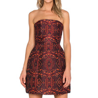 Alice + Olivia Nikki Structured Strapless Dress in Orange Multi