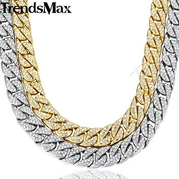 Trendsmax Hiphop Men Necklace Chain Iced Out Miami Curb Cuban Gold-color Paved Clear Rhinestones Jewelry 14mm GN432