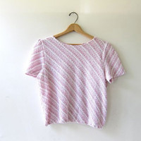 vintage 70s knit top. cropped woven shirt. pink white sweater top