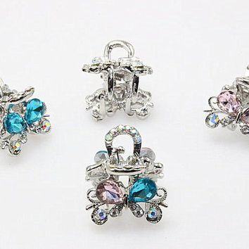 1pc Rhinestone Hairpin Brides Clip Crystal Rose Hair Claw Wedding Jewelry  Charming Tiara Butterfly Hair Accessories A118-3
