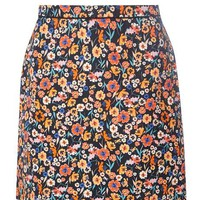 Black and Pink Floral A-line Skirt